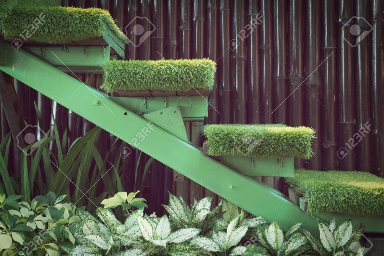 Grüne Gras Treppe Im Garten, Innendekoration Haus Garten Lizenzfreie ...