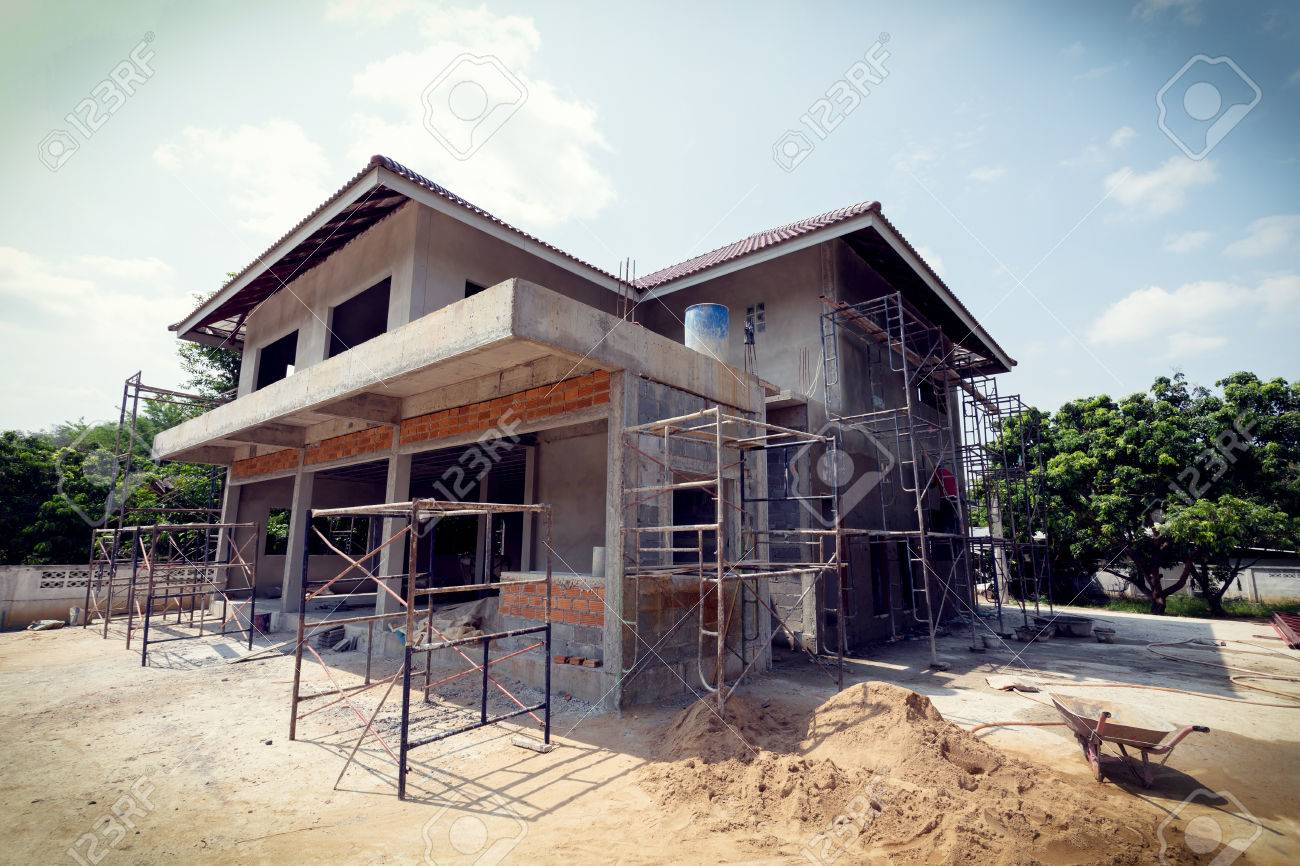 building residential construction house with scaffold steel for construction worker, image used vintage filter - 47203652