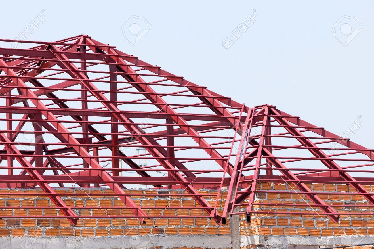 Structural Steel Beam On Roof Of Building Residential Construction Stock Photo Picture And Royalty Free Image Image 47359251