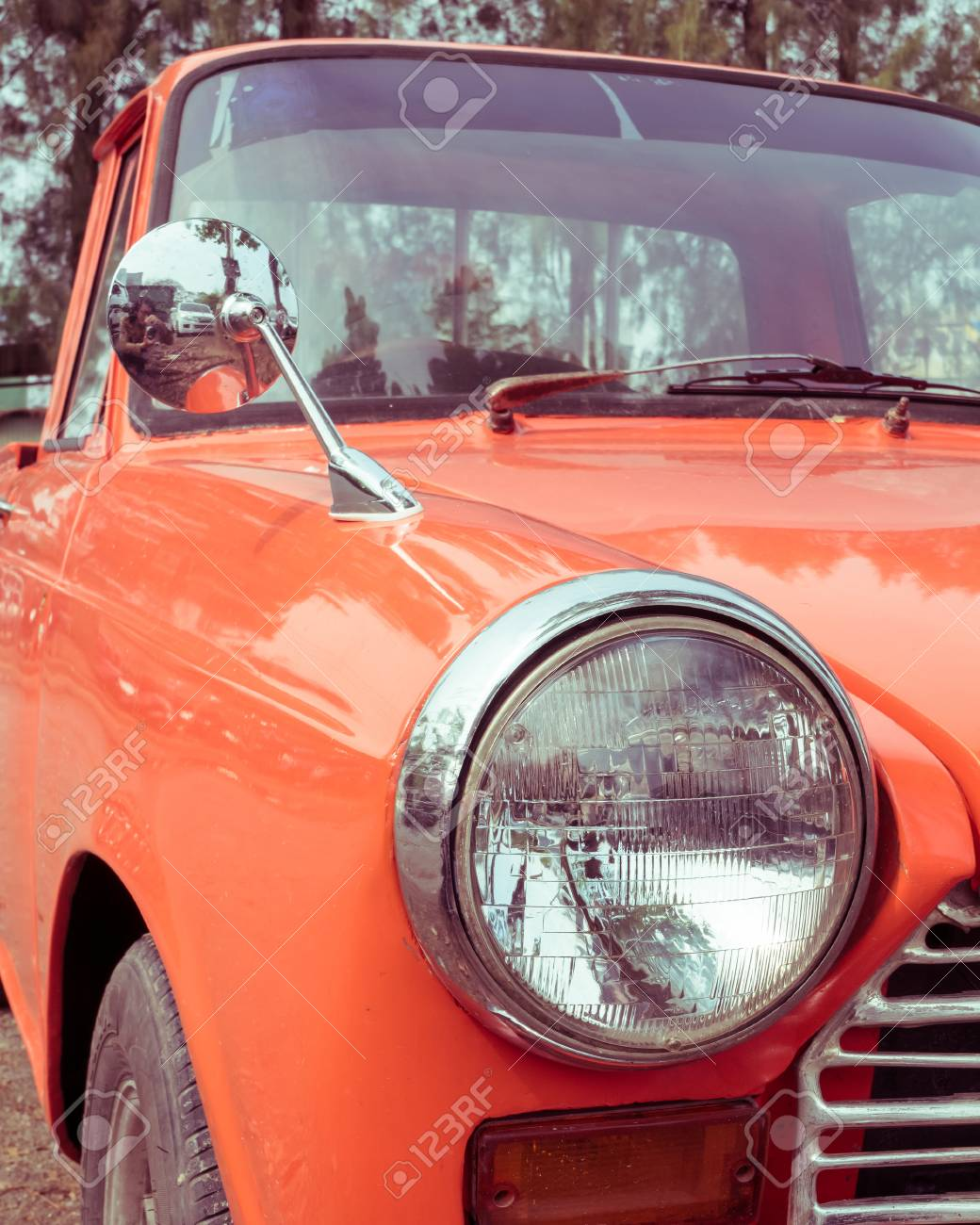 Close-up Headlight Of Colourful Classic Car, Image Used Filter ...