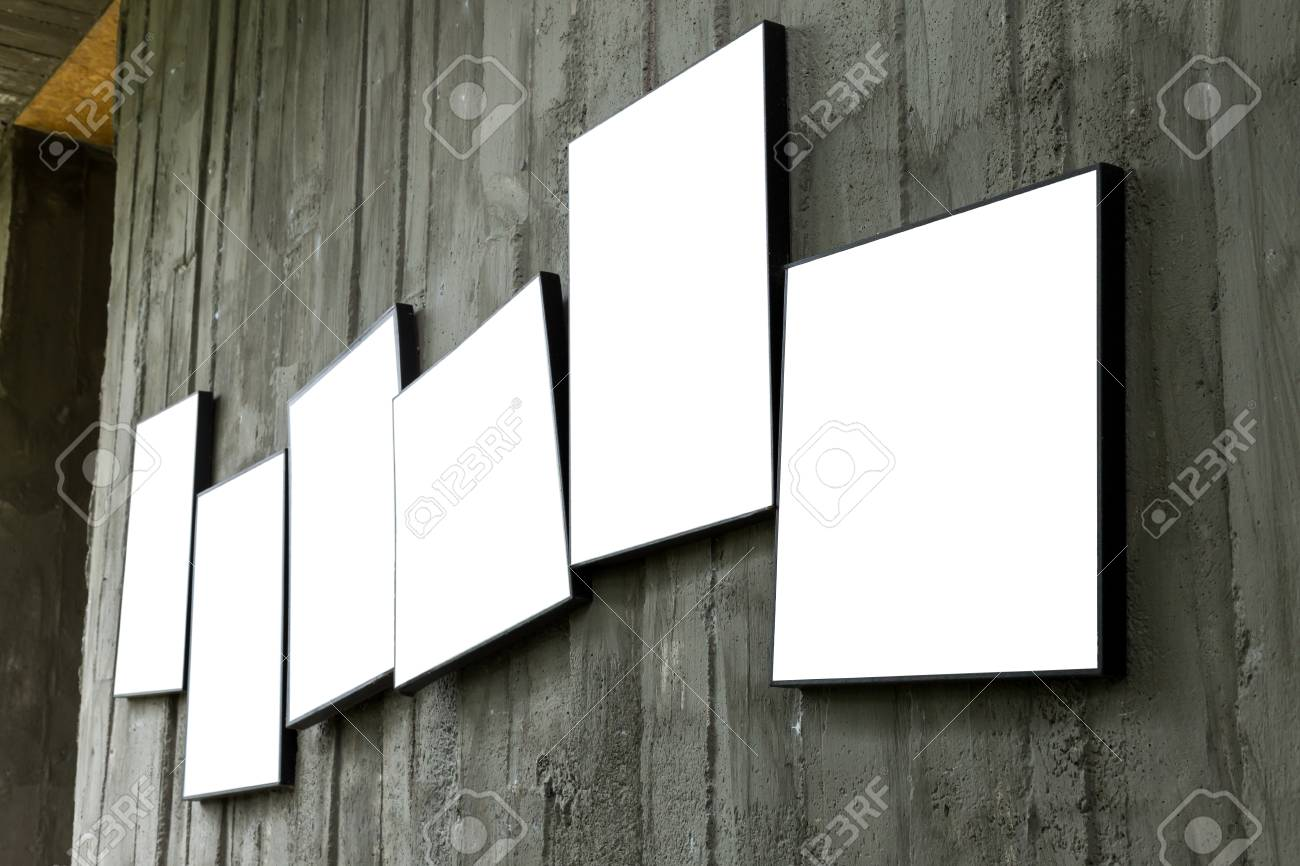 Blank Photo Frame Hanging On Cement Wall Interior Room Stock Photo