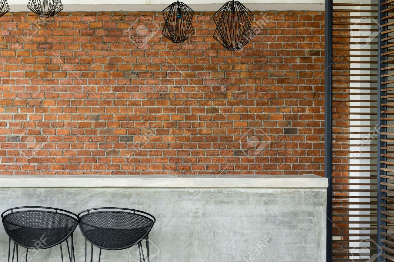 Cement Counter Nightclub With Seat Bar Stool And Brick Wall ...