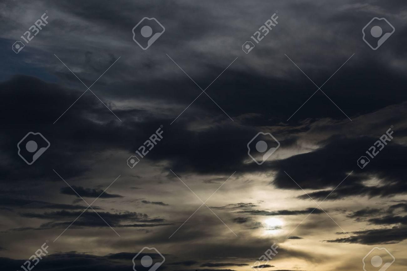 black cloud in darkness sky, night sky of halloween background - 53682057