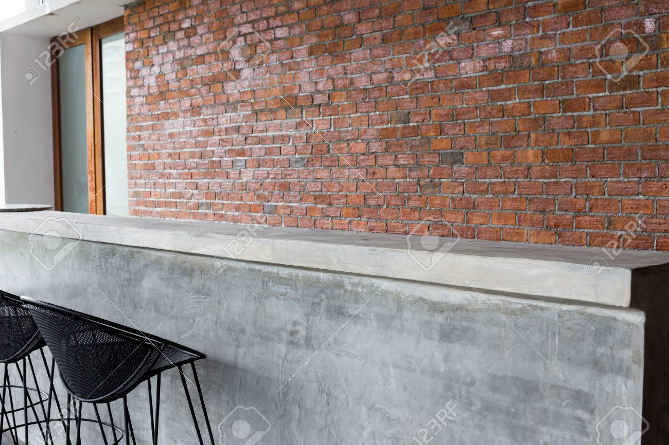 Design Of Interior, Counter Bar Made From Cement With Iron Seat Bar Stool  And Brick