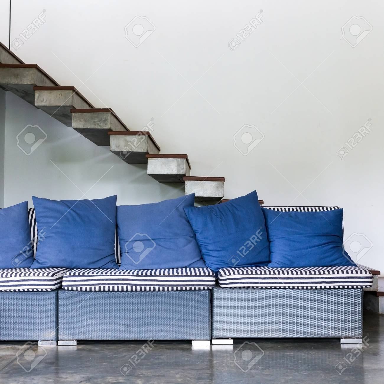 interior living room modern style with blue sofa furniture and rh 123rf com ashley furniture blue sofa city furniture blue sofa