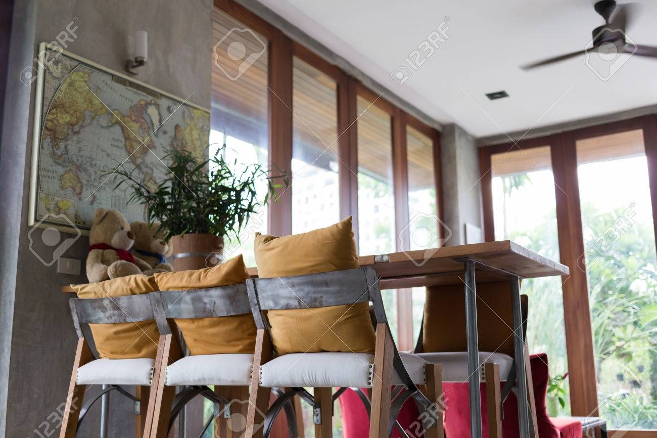 Living Room Interior Decoration Cafe Coffee With Wooden Bar And ...
