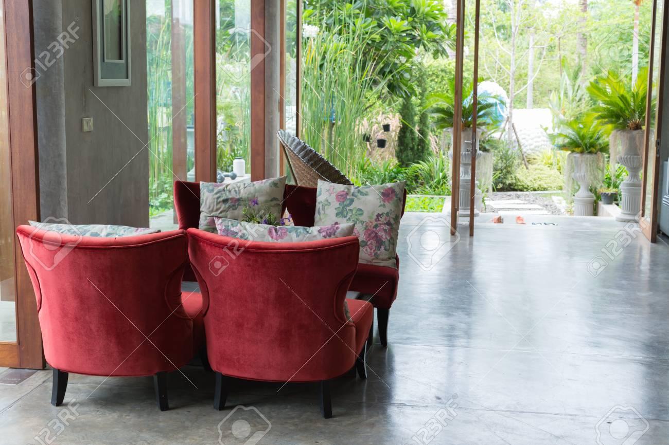 Innenarchitektur Wohnzimmer Modernen Stil Mit Roten Sofa Möbel ...