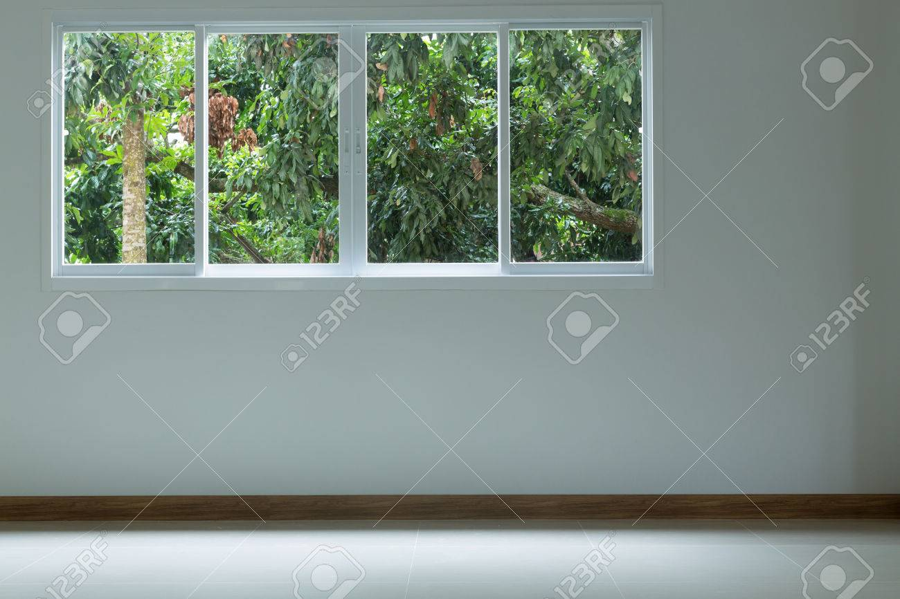 Empty Room With Glass Window Sliding On White Wall And Tile Floor ...