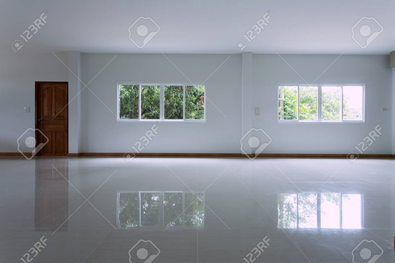 Empty White Room Interior In Residential House Building With.. Stock ...