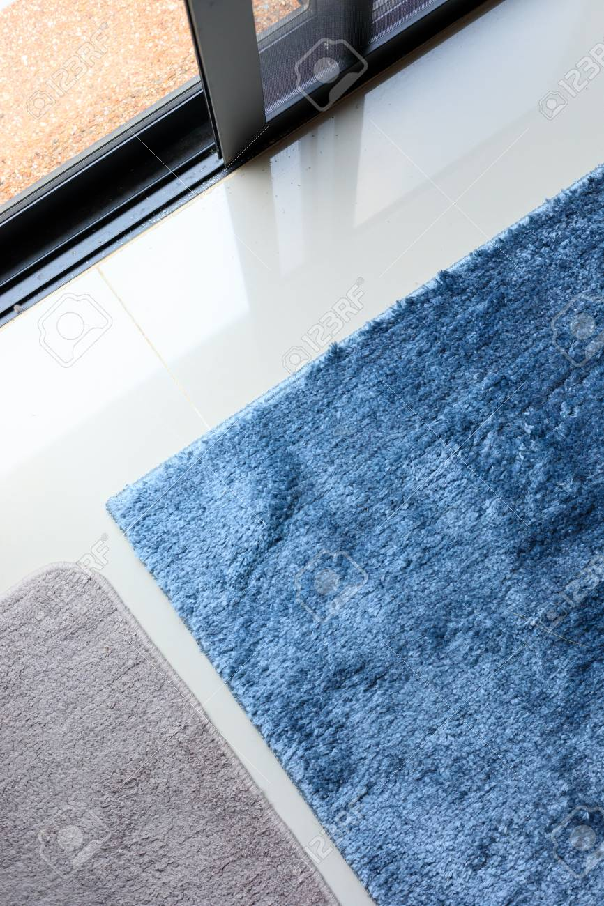 Blue Carpet Softness Texture Decoration Floor Interior Modern House Stock Photo