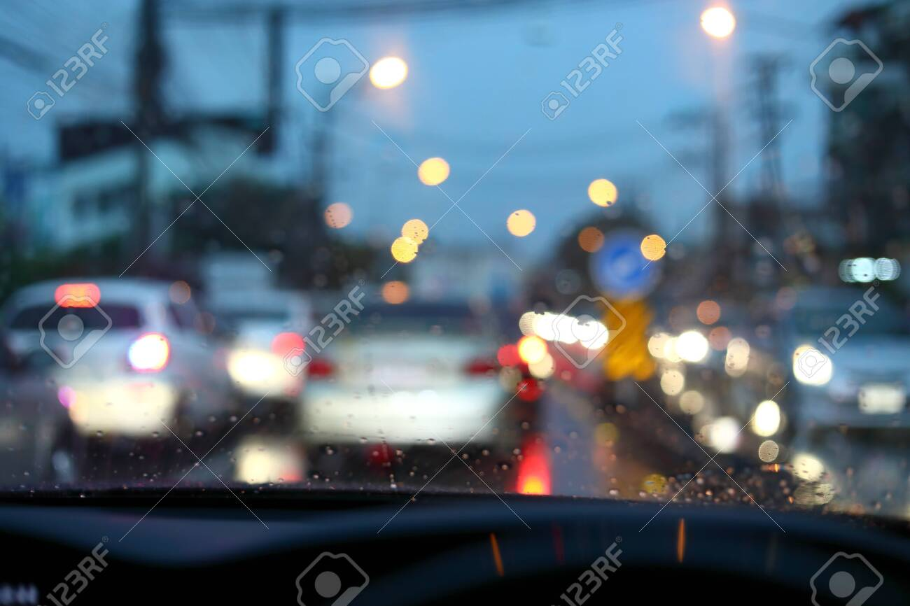 Traffic Jam On Night Road City With Storm Rainy Day Weather Stock Photo Picture And Royalty Free Image Image 138343791