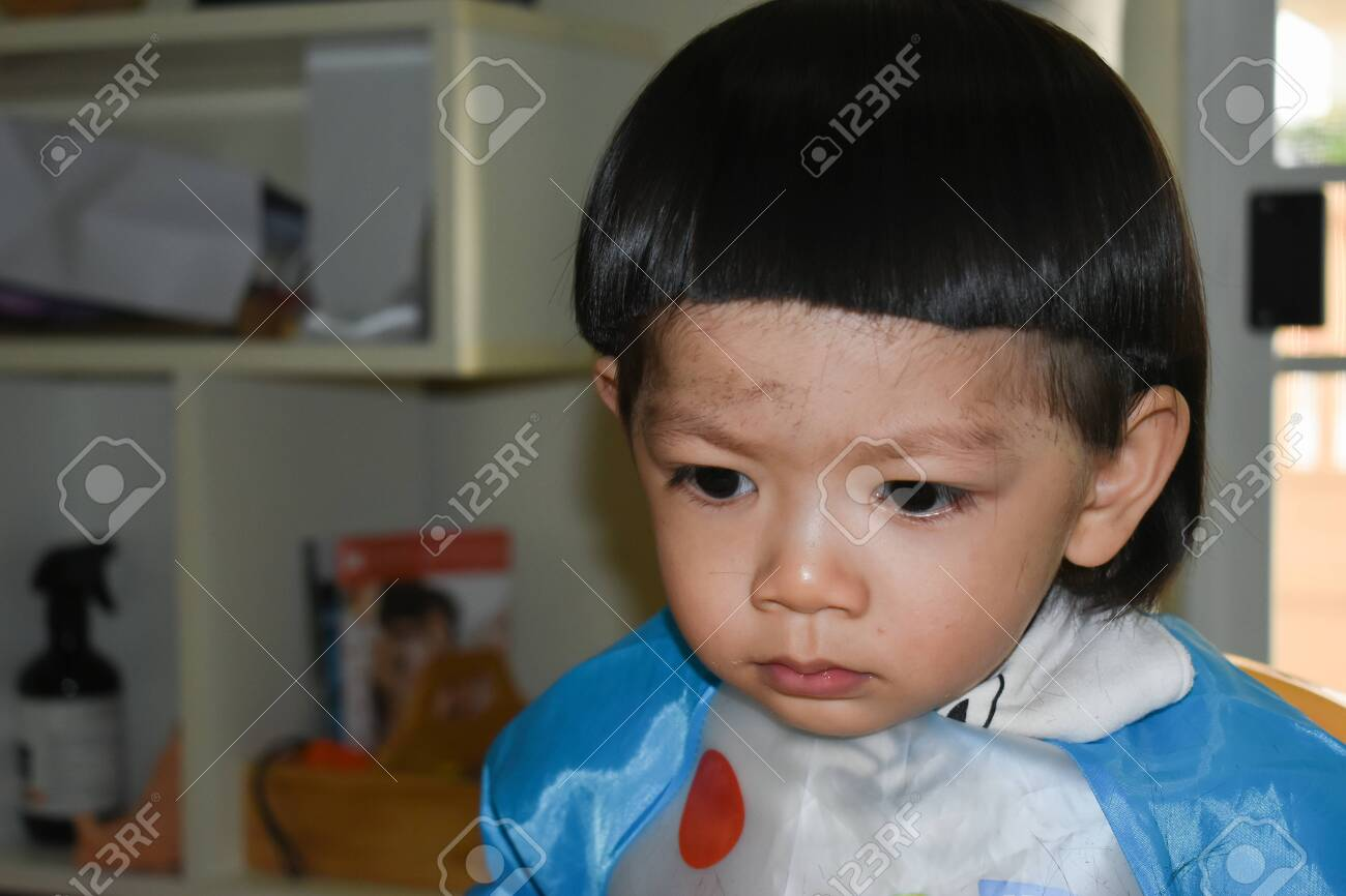 Cute Baby Boy Haircut In Home Stock Photo Picture And Royalty Free Image Image 140692341