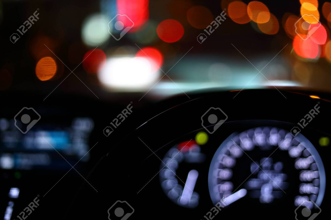 Black Steering Wheel Inside Car Drive In Night City Street Stock Photo Picture And Royalty Free Image Image 141337302