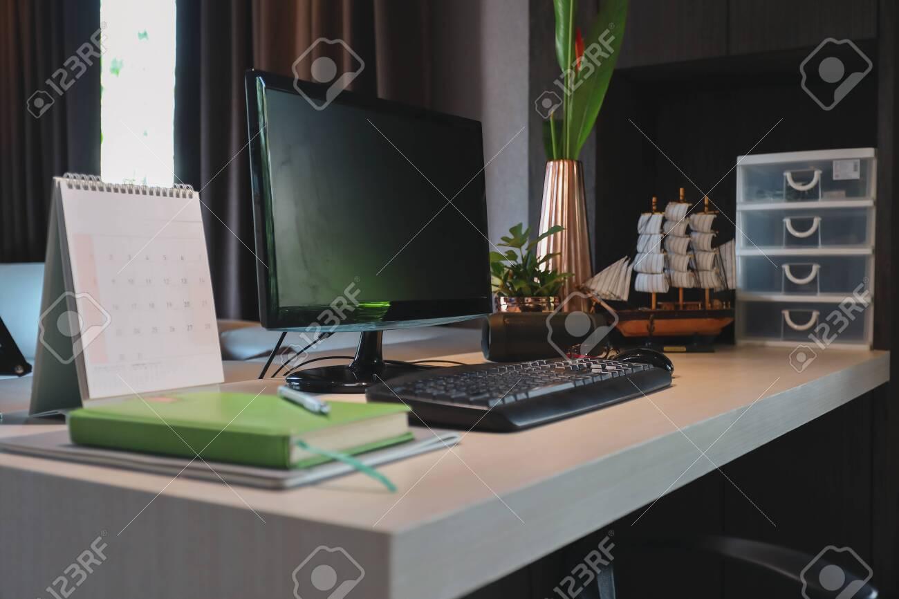 - Table Work With Desktop Pc Computer On Desk Inside Room Of