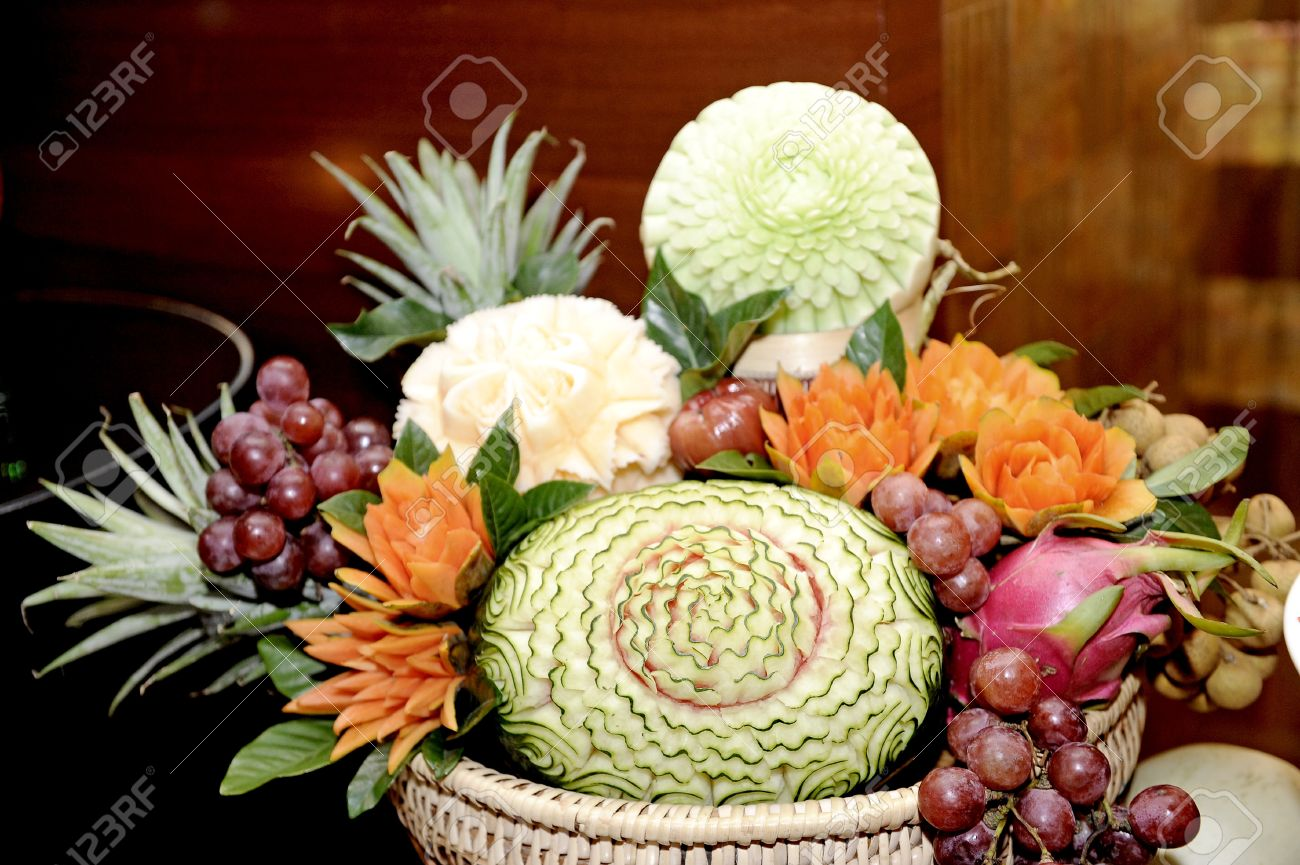 Fruit carvings on the buffet table stock photo picture and royalty