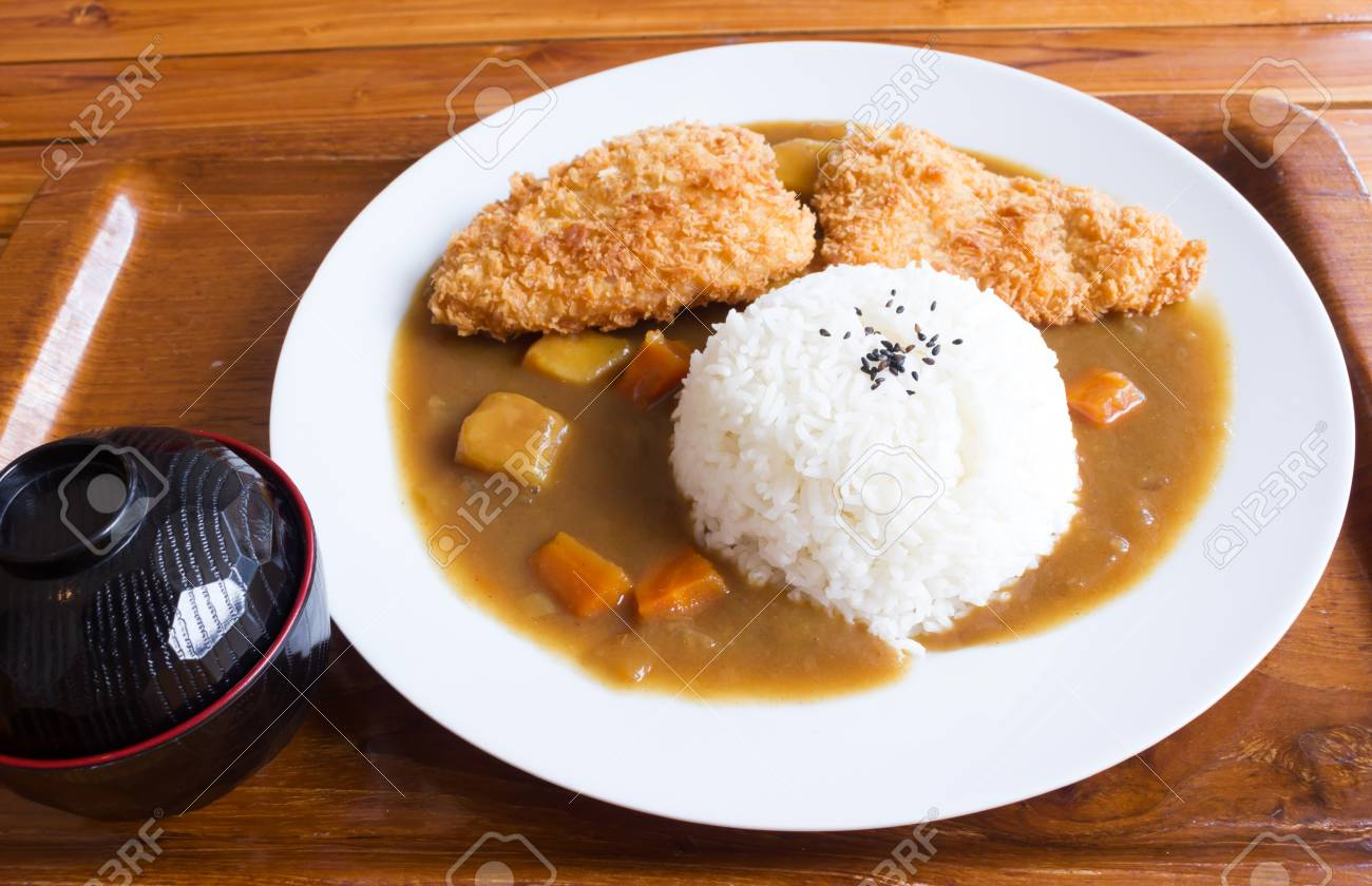 Japanese Curry Rice Fried Fish Curry On White Plate Stock Photo