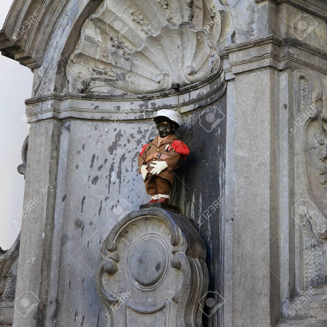 BRUSSELS, BELGIUM - April 18: Manneken Pis statue in Brussels. Statue of a