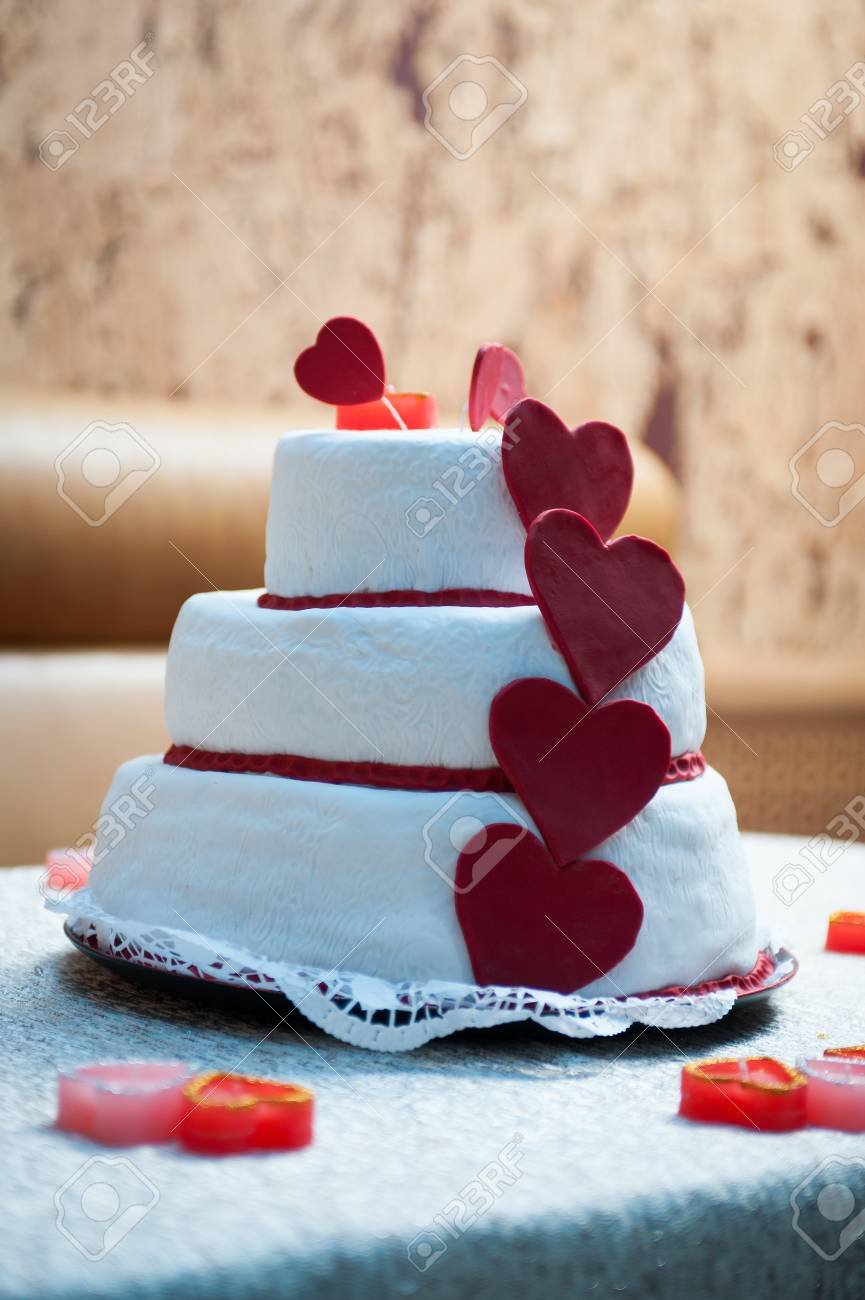 Wedding Cake With Red Roses Wedding Cake Stock Photo, Picture And ...