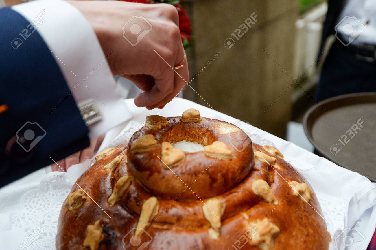 Russian Wedding Bread With Salt Ceremony Cake Stock Photo