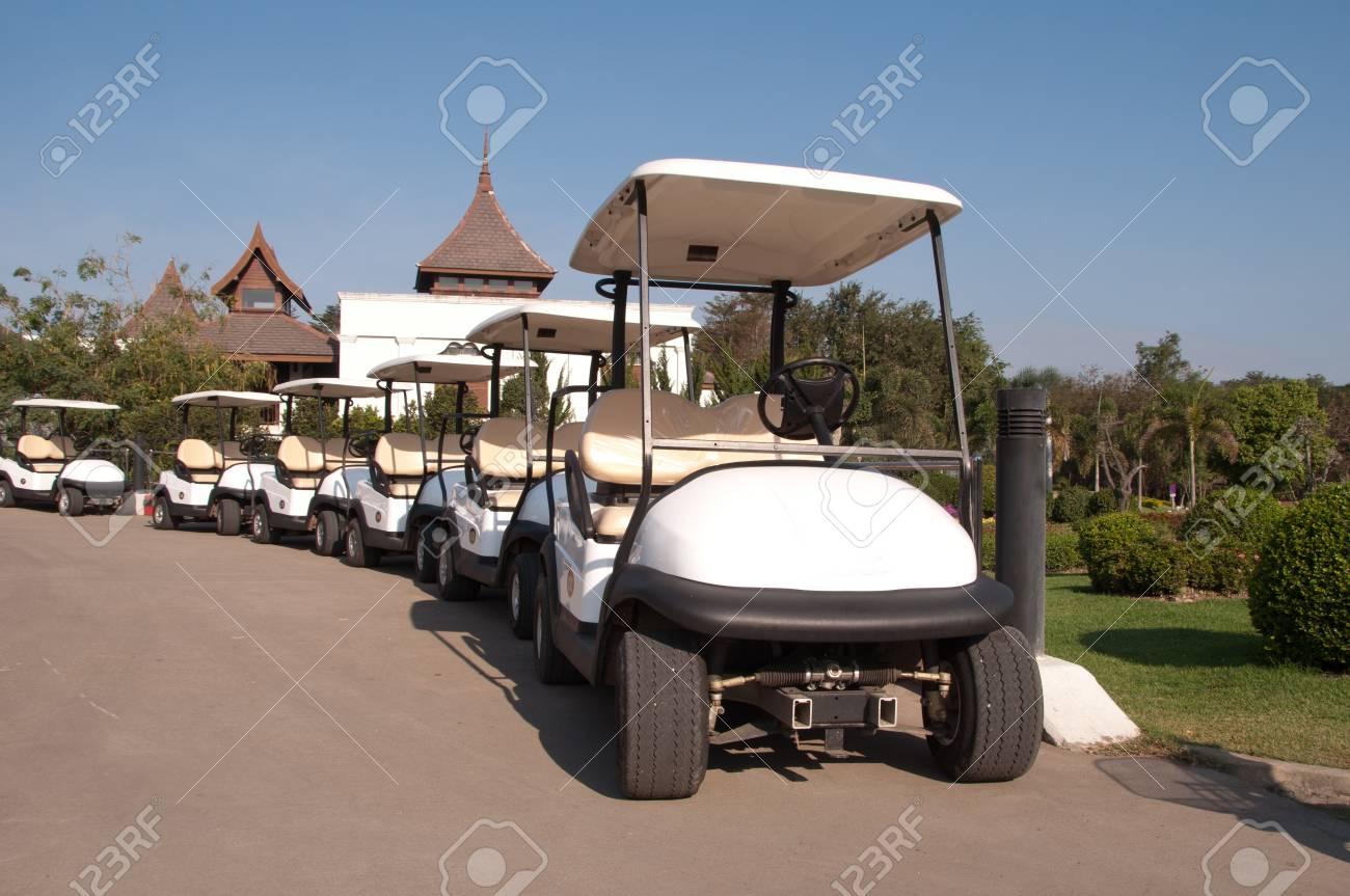 White golf cart in golf club Stock Photo - 12458423