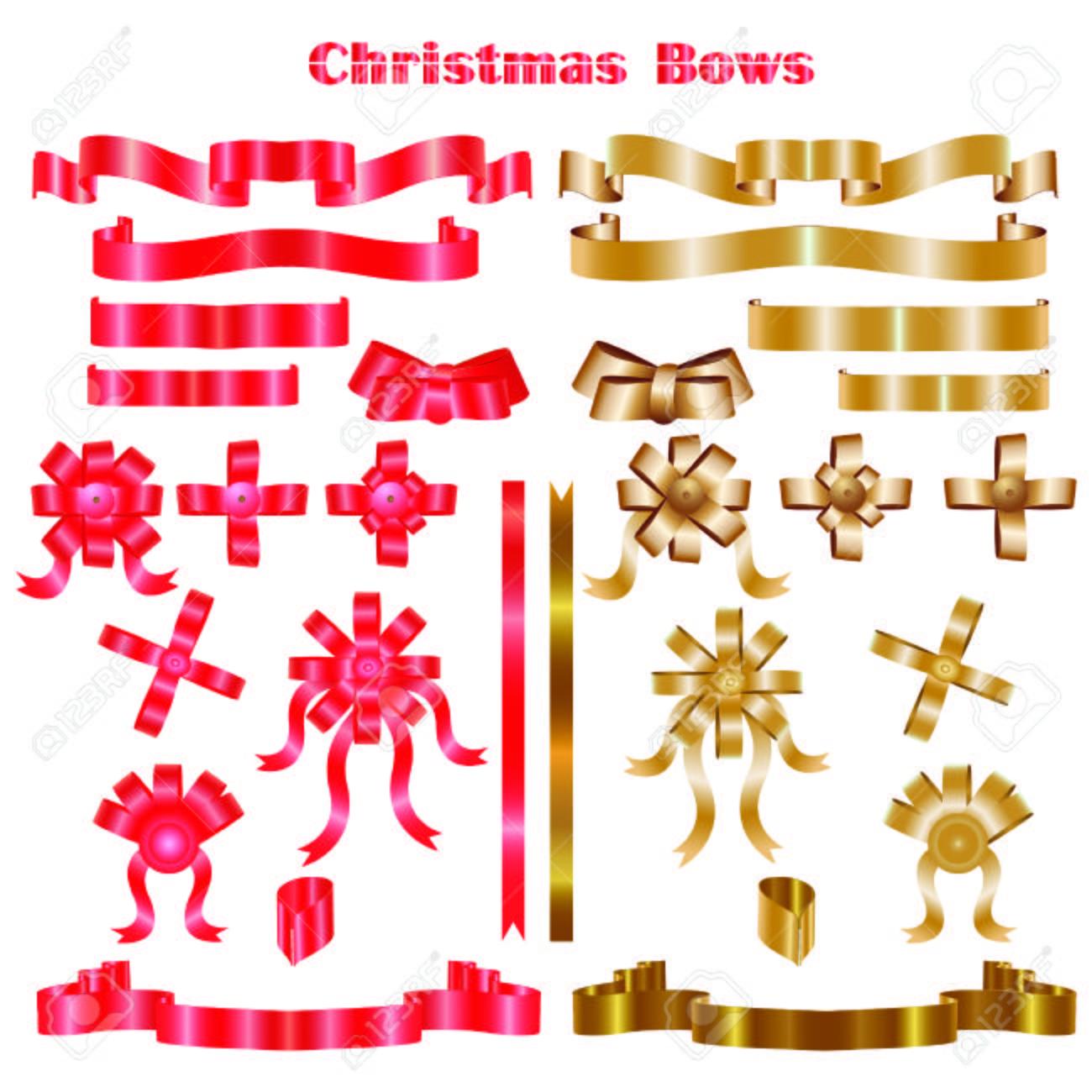 Christmas Bows Vector Illustration Royalty Free Cliparts Vectors