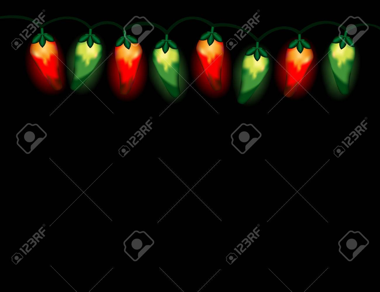 A String Of Chili Pepper Lights In Christmas Colors, Red And ...
