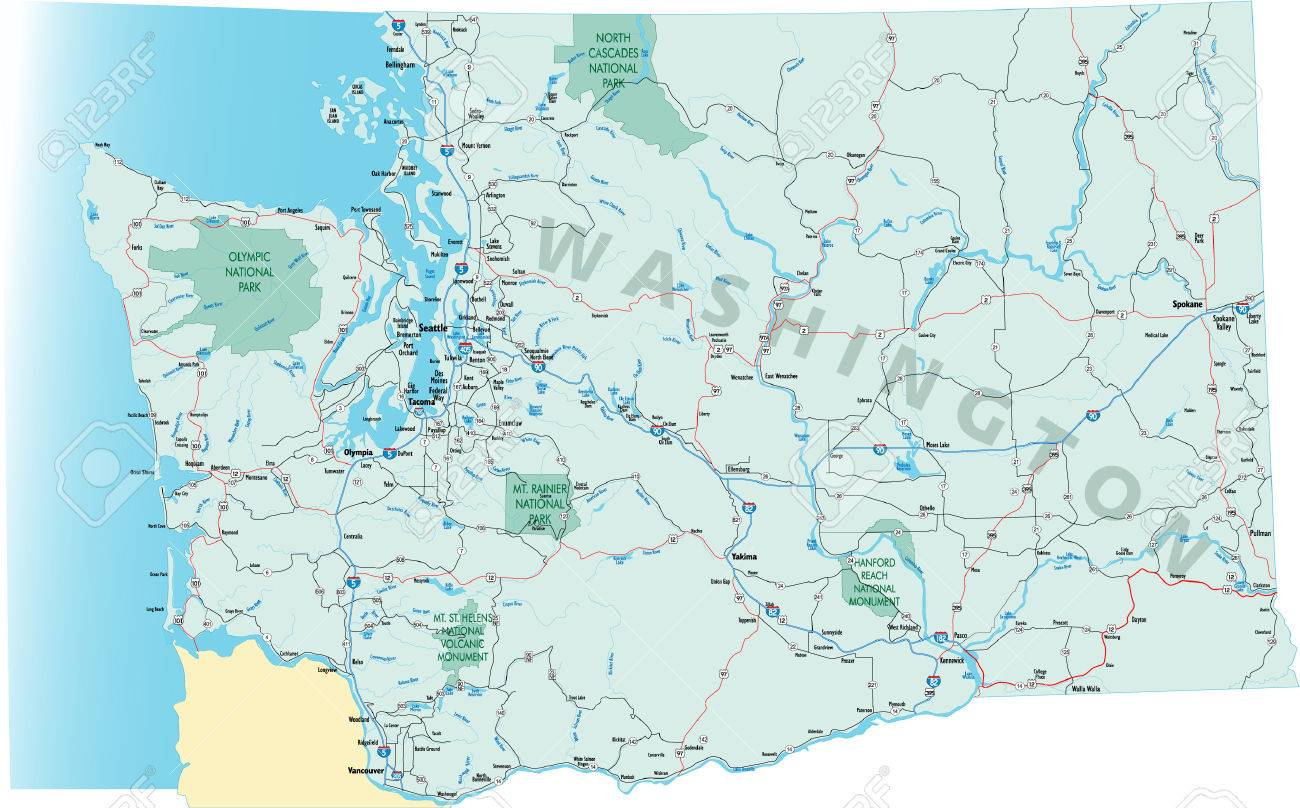 Washington State Road Map With Interstates US Highways And – State Road Maps