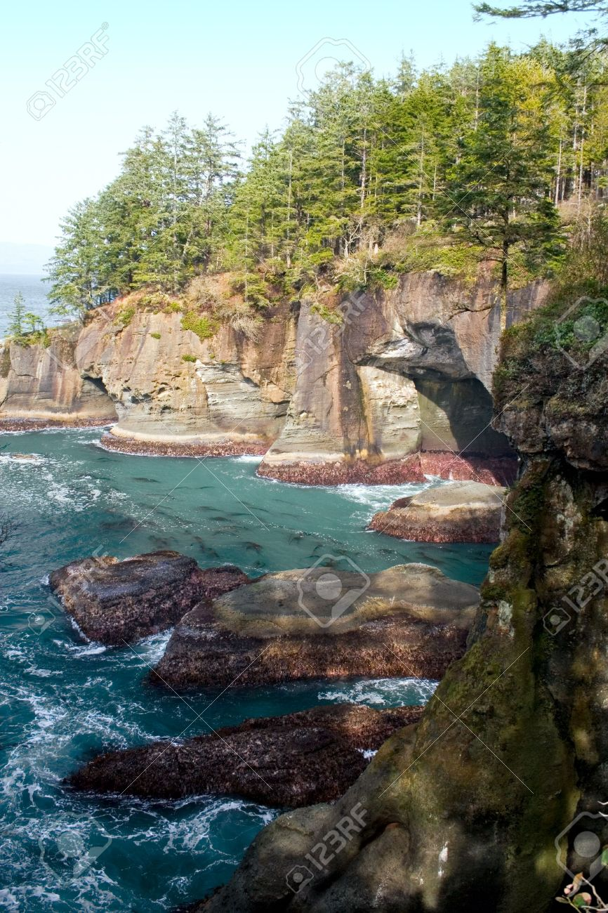 The rocks and caves at Cape Flattery, Washington, the northwestern-most point in the continental U.S. Stock Photo - 4634519