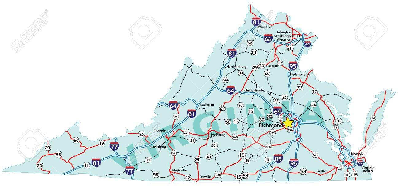 Virginia State Road Map With Interstates And U S Highways All