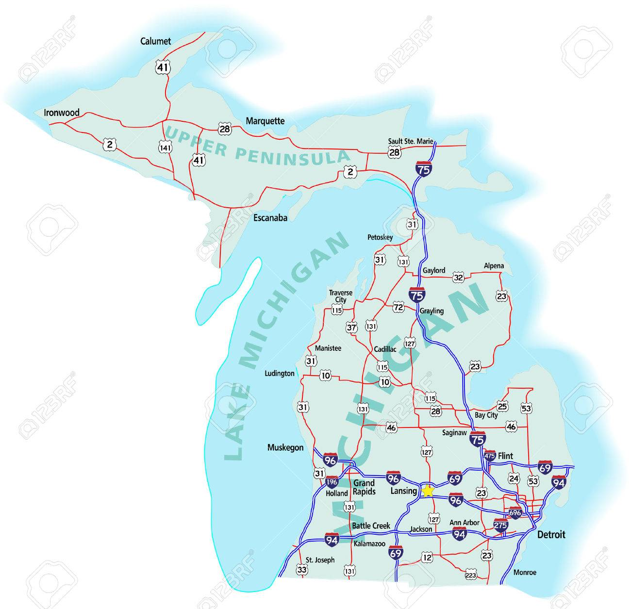 Michigan State Road Map With Interstates US Highways And State - Michigan state map