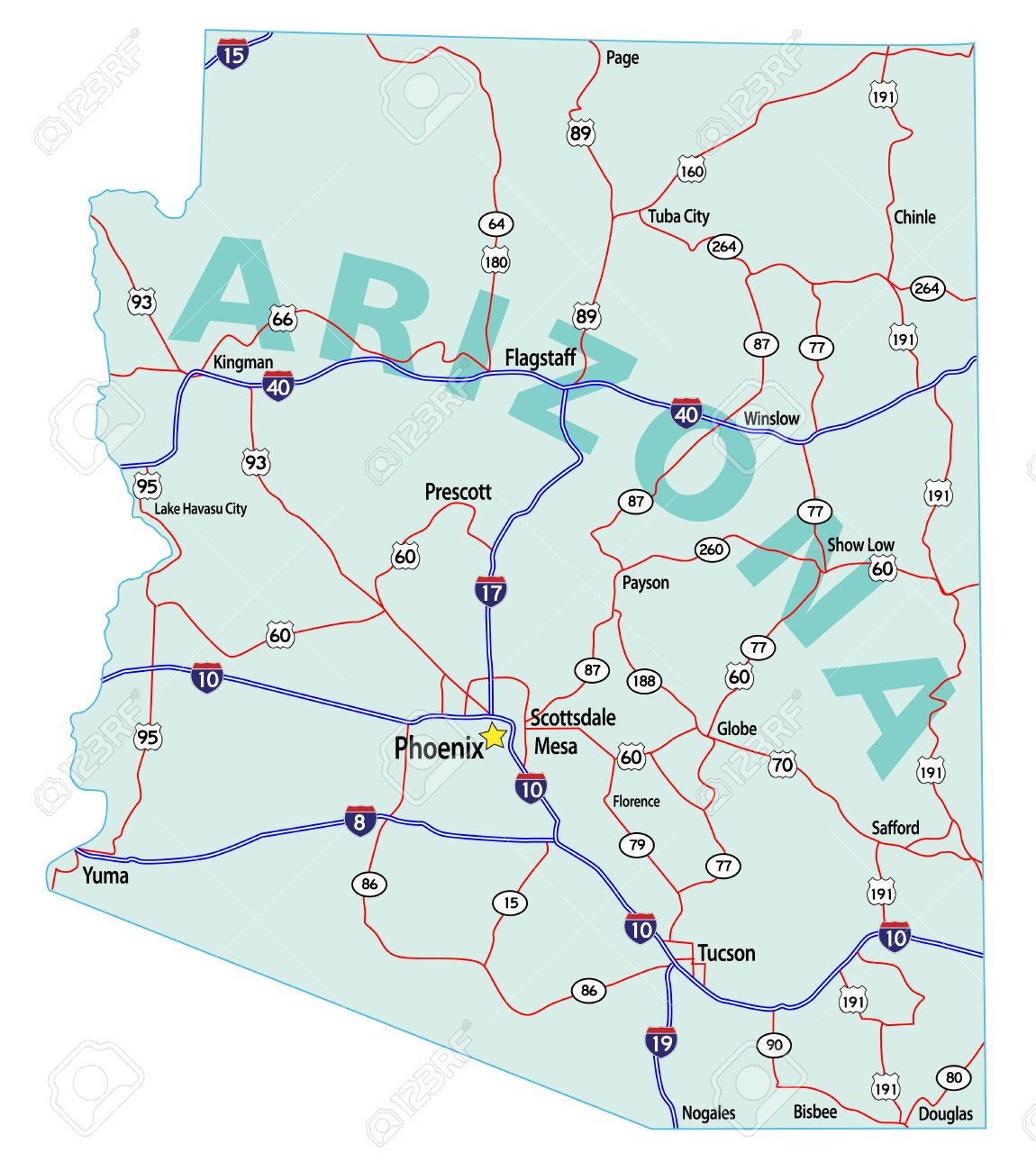 Arizona State Road Map With Interstates US Highways And State - Arizona map us