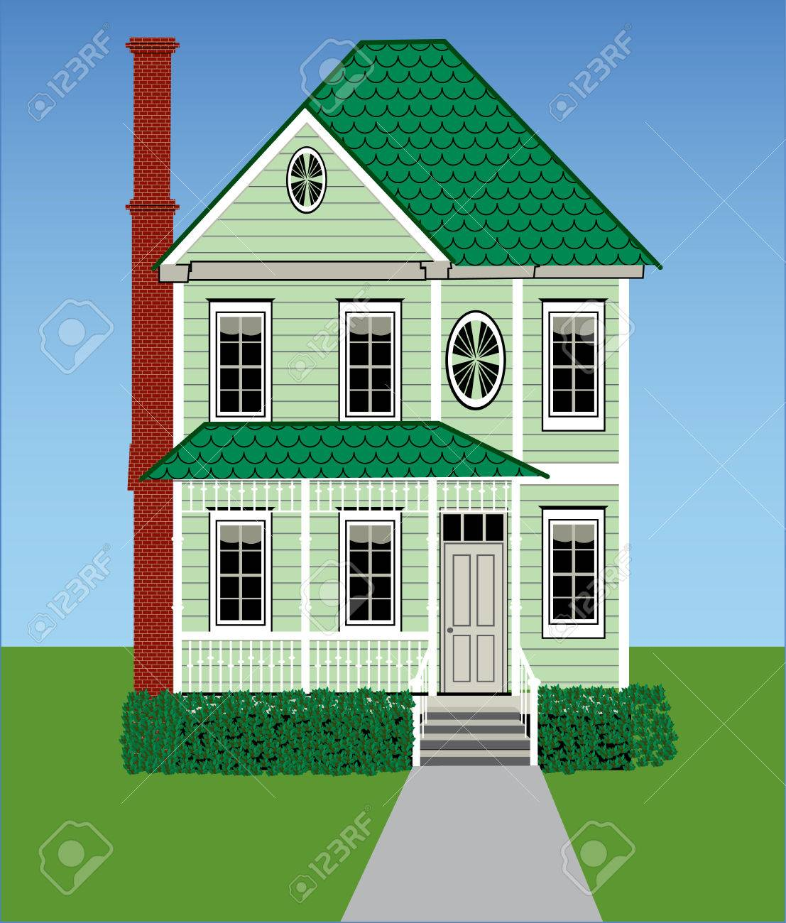 A tall green Victorian home with grass, sky, gingerbread woodwork and a brick chimney. Stock Vector - 6296830