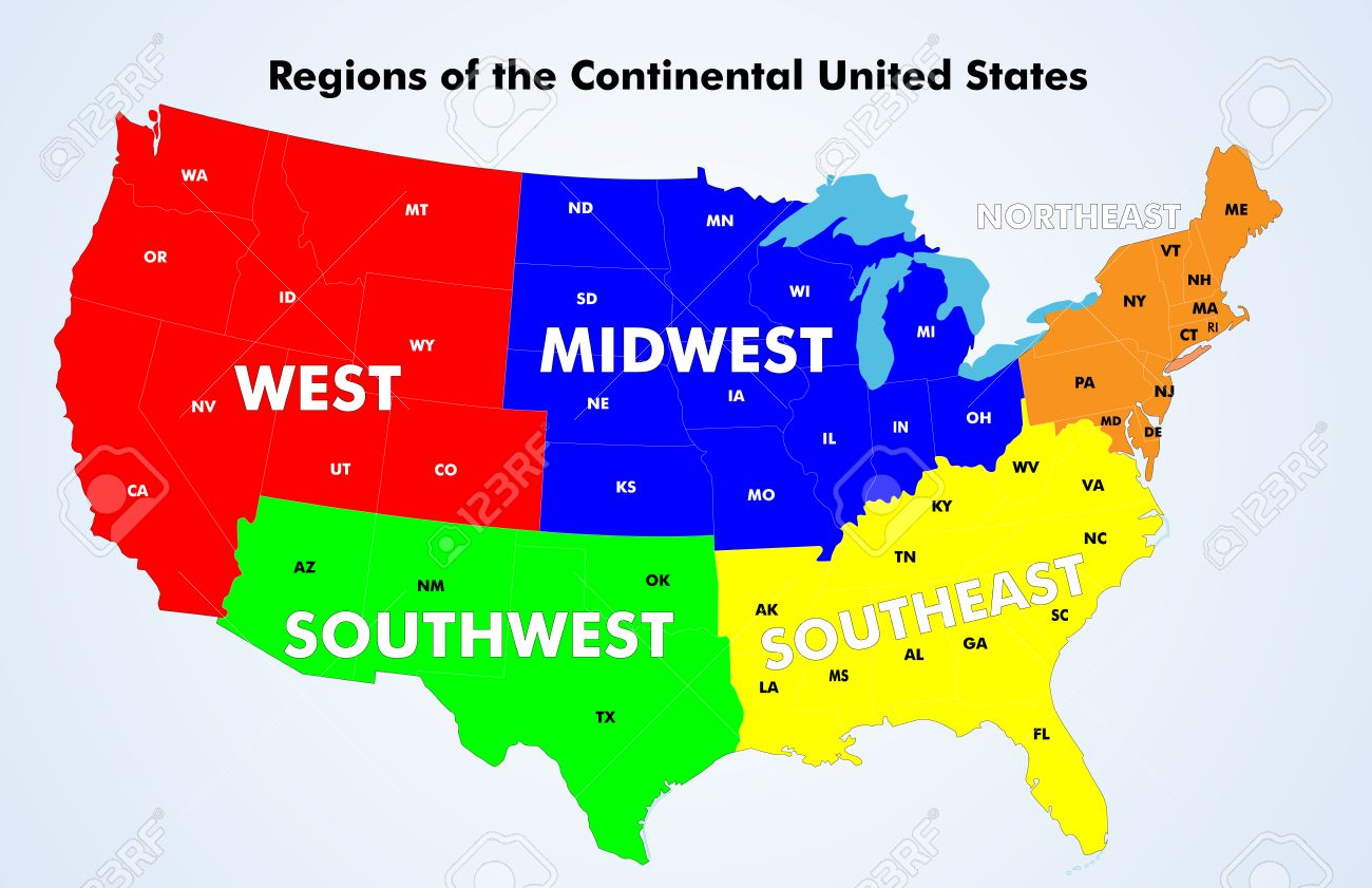 Regions Of The Continental United States Source Public Domain - 5 us regions map