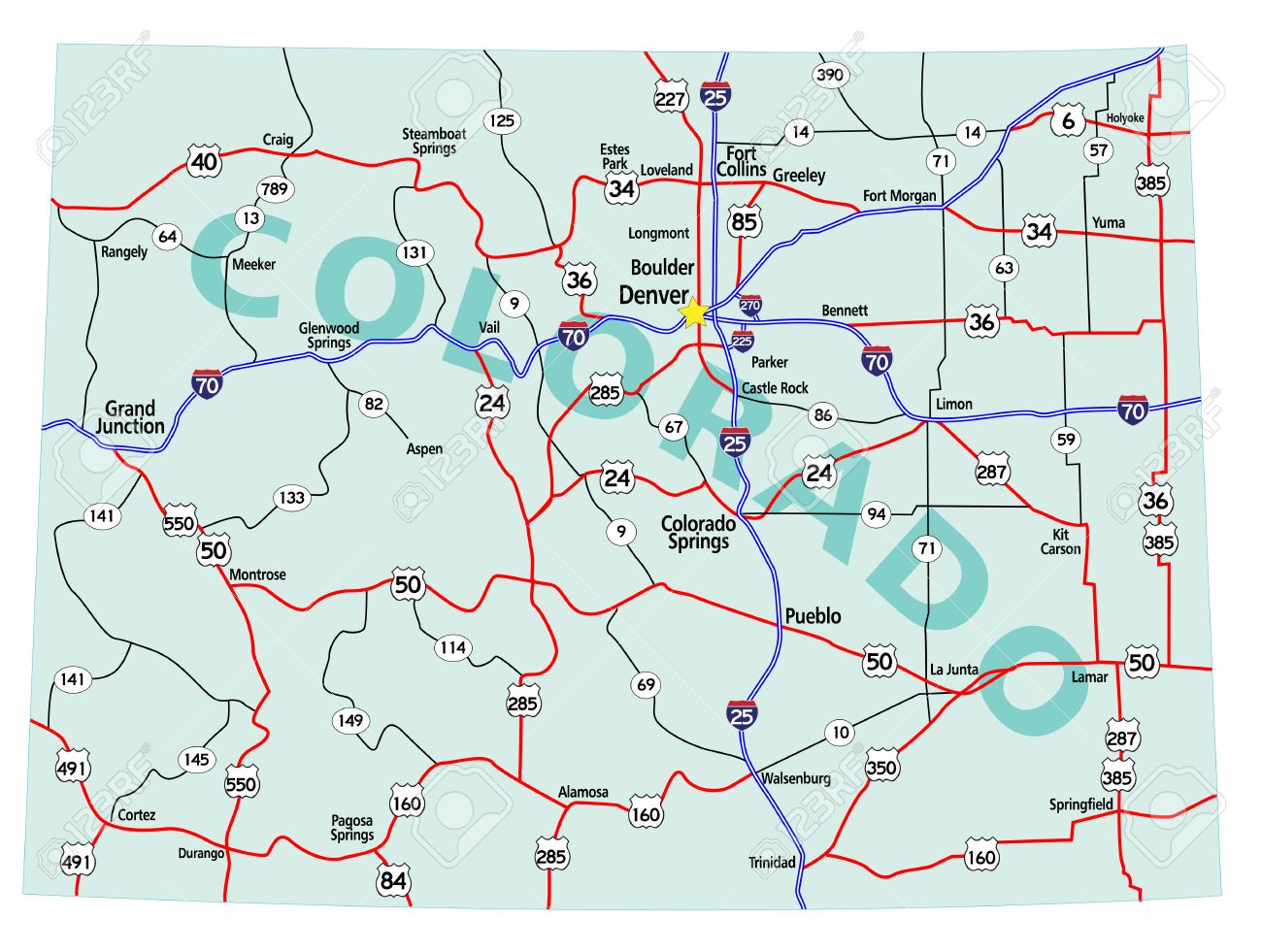 Colorado State Road Map With Interstates US Highways And State - Colorado state map