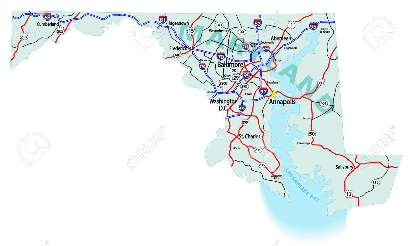 maryland state road map with interstates u s highways and state roads all elements on