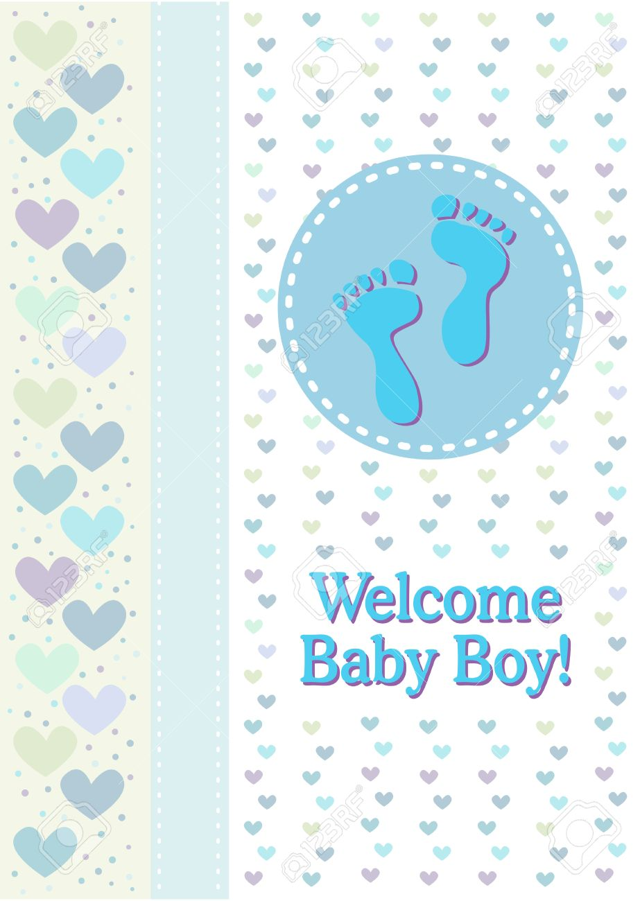 A Baby Boy Birth Announcement With Footprints And Hearts Royalty – Baby Boy Birth Announcement