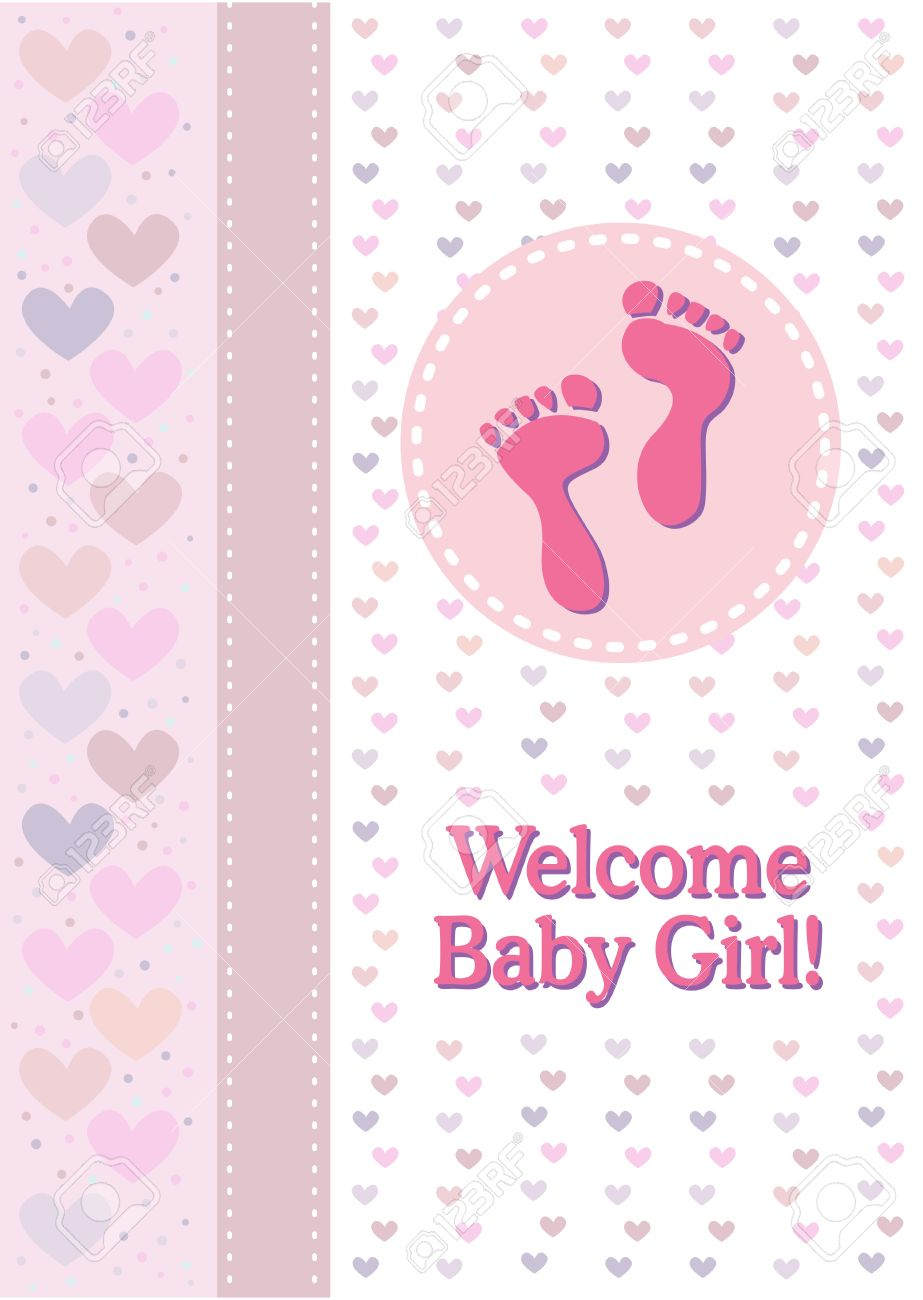 A Baby Girl Birth Announcement With Footprints And Hearts Royalty – Announcement of Birth of Baby Girl