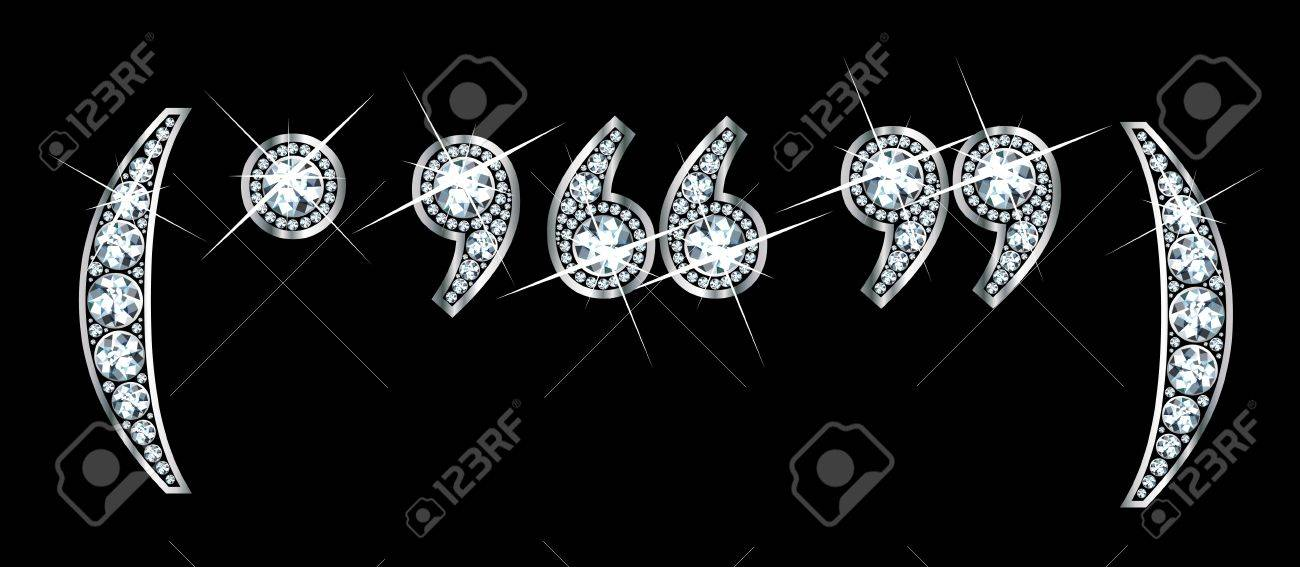 Stunningly beautiful punctuation marks set in diamonds and silver, to include parentheses, period, comma, and quotation marks. Stock Vector - 11497183