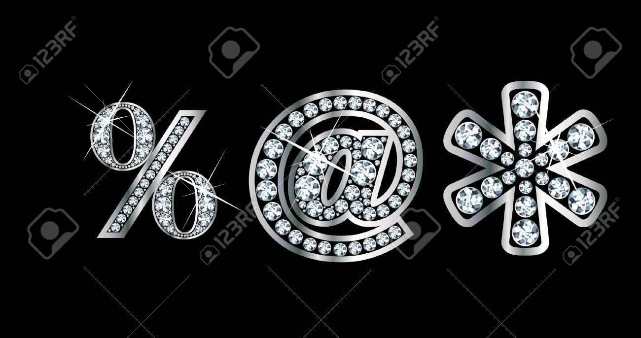 Stunningly beautiful punctuation marks set in diamonds and silver, to include percentage,