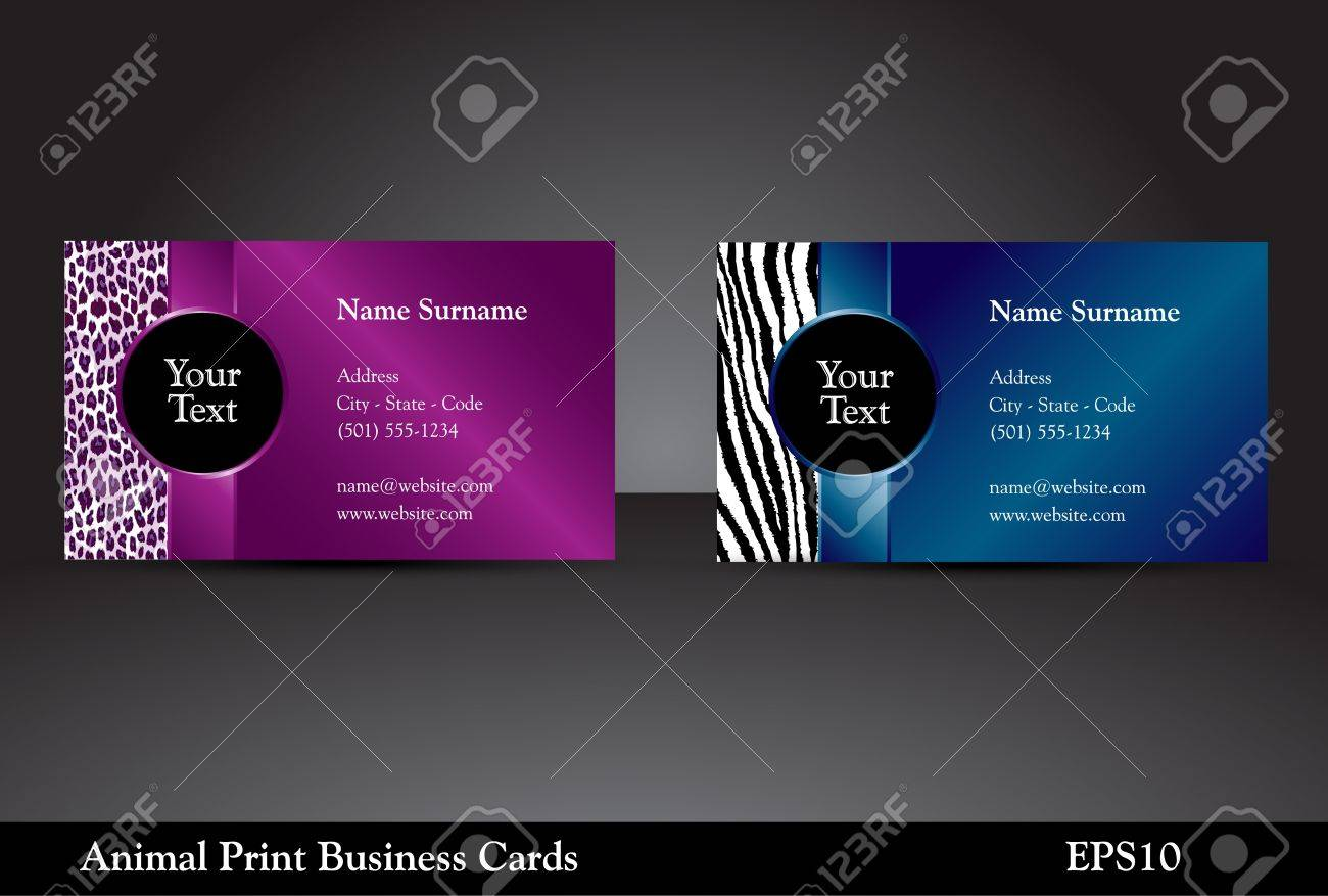 Fancy business card templates with leopard and zebra prints with fancy business card templates with leopard and zebra prints with wild colors stock vector 13406727 reheart Choice Image