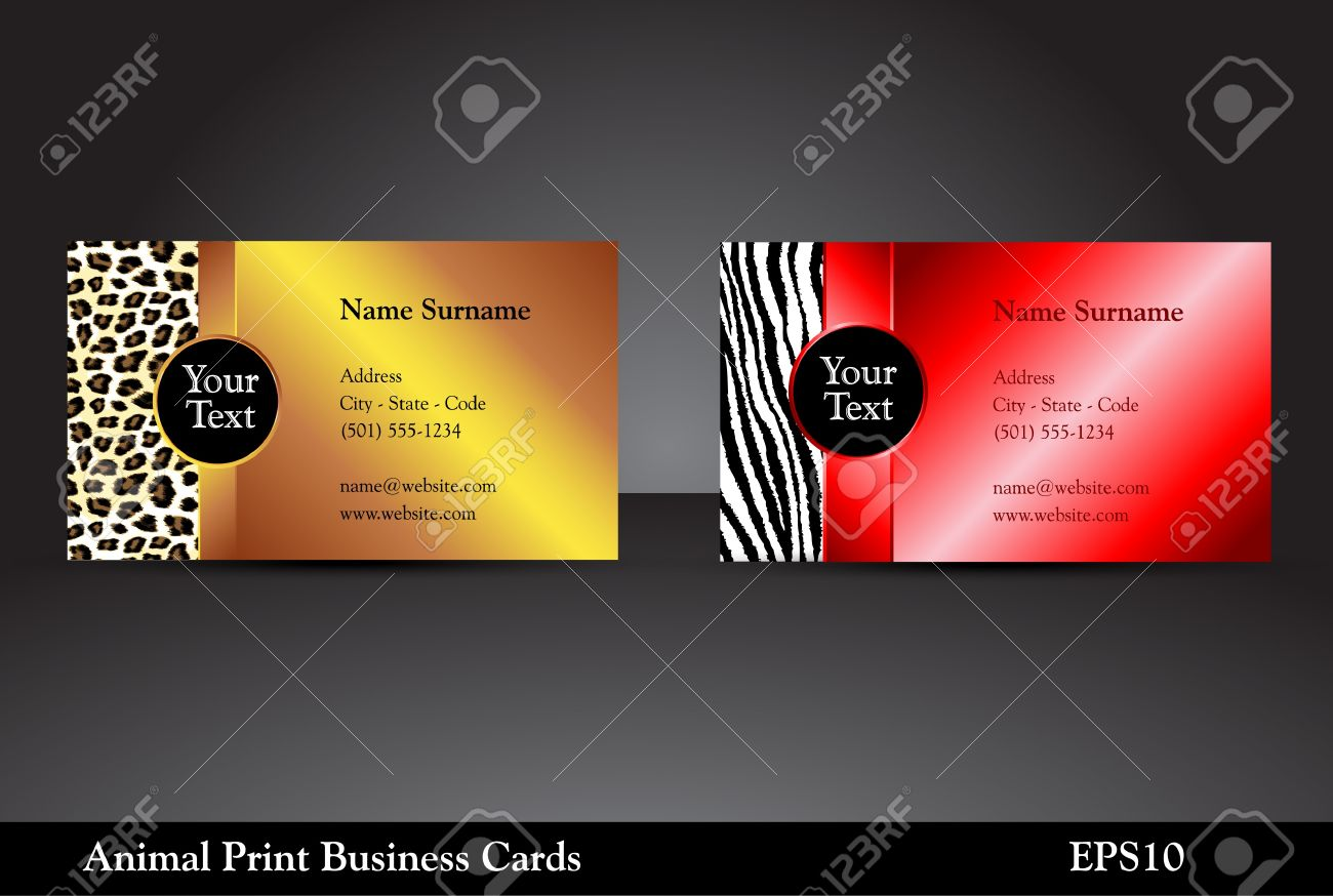Fancy Business Card Templates With Leopard And Zebra Prints With ...
