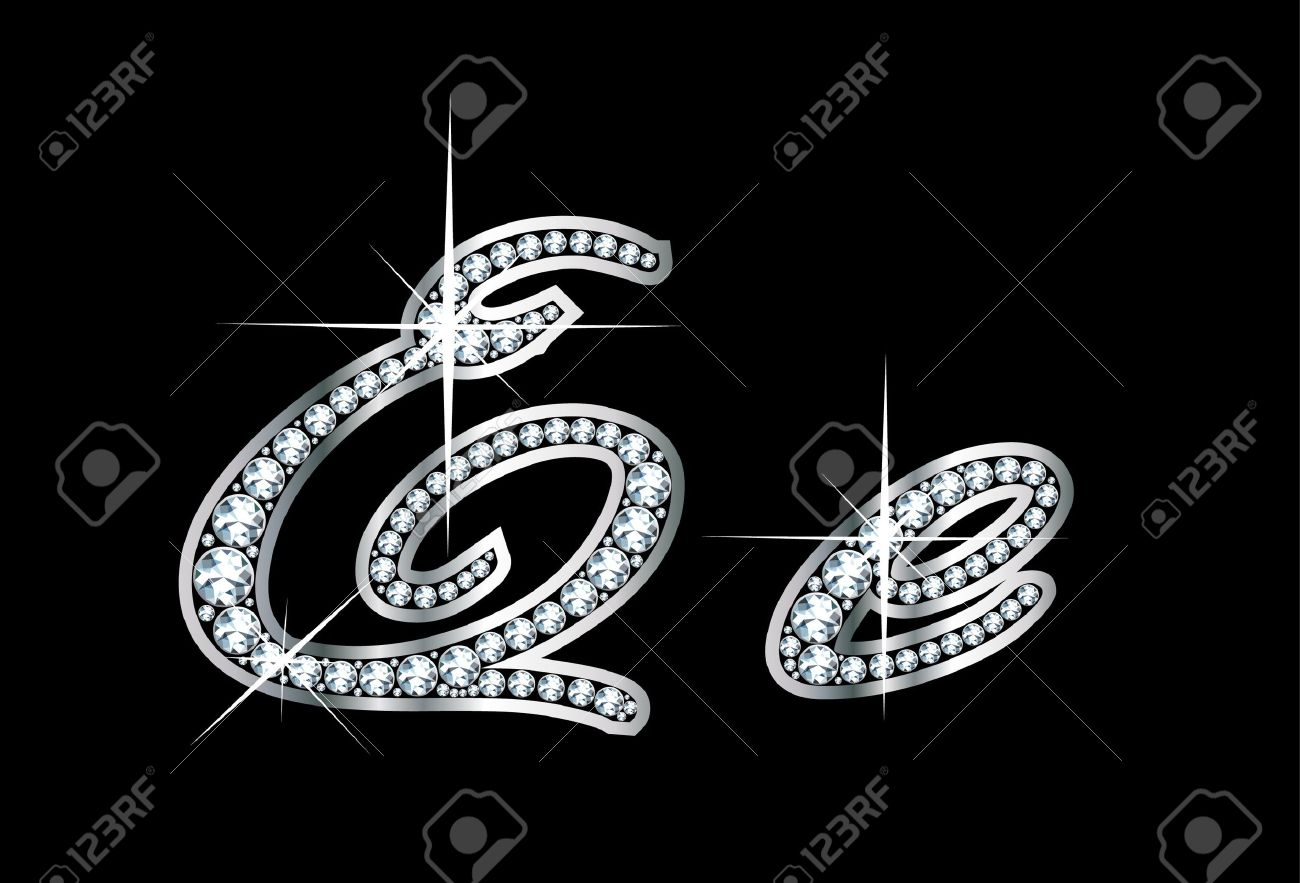 R Letter In Black Diamonds in diamonds and silver