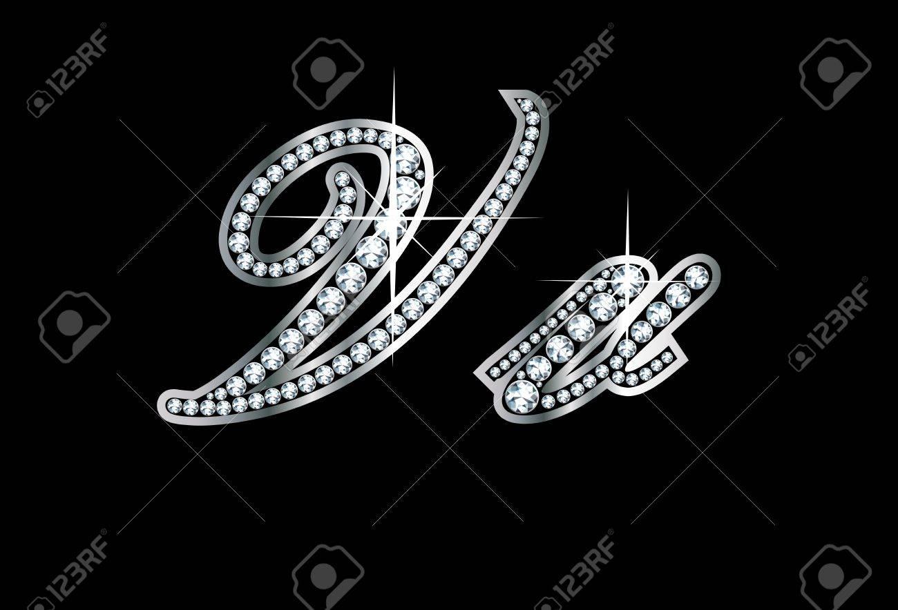 R Letter In Black Diamonds in diamonds and silver