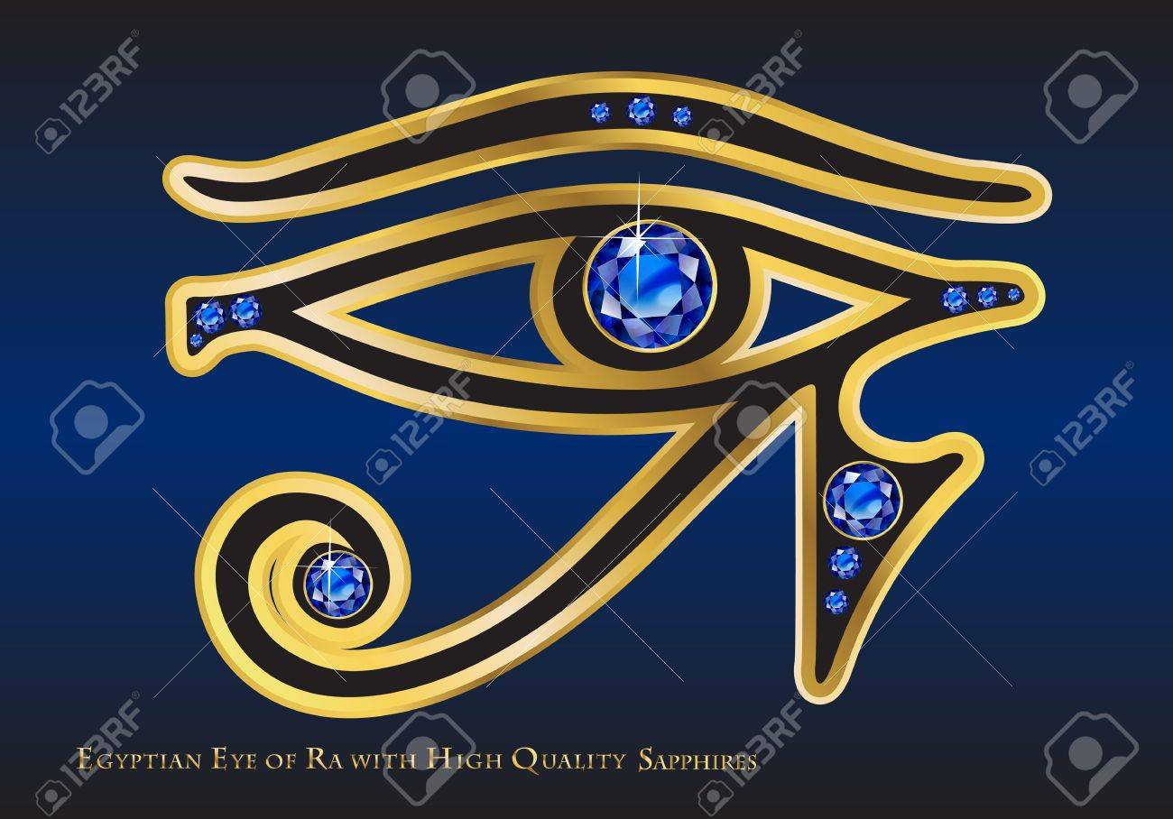 The egyptian eye of ra with gold and high quality channel set the egyptian eye of ra with gold and high quality channel set sapphires stock buycottarizona Image collections