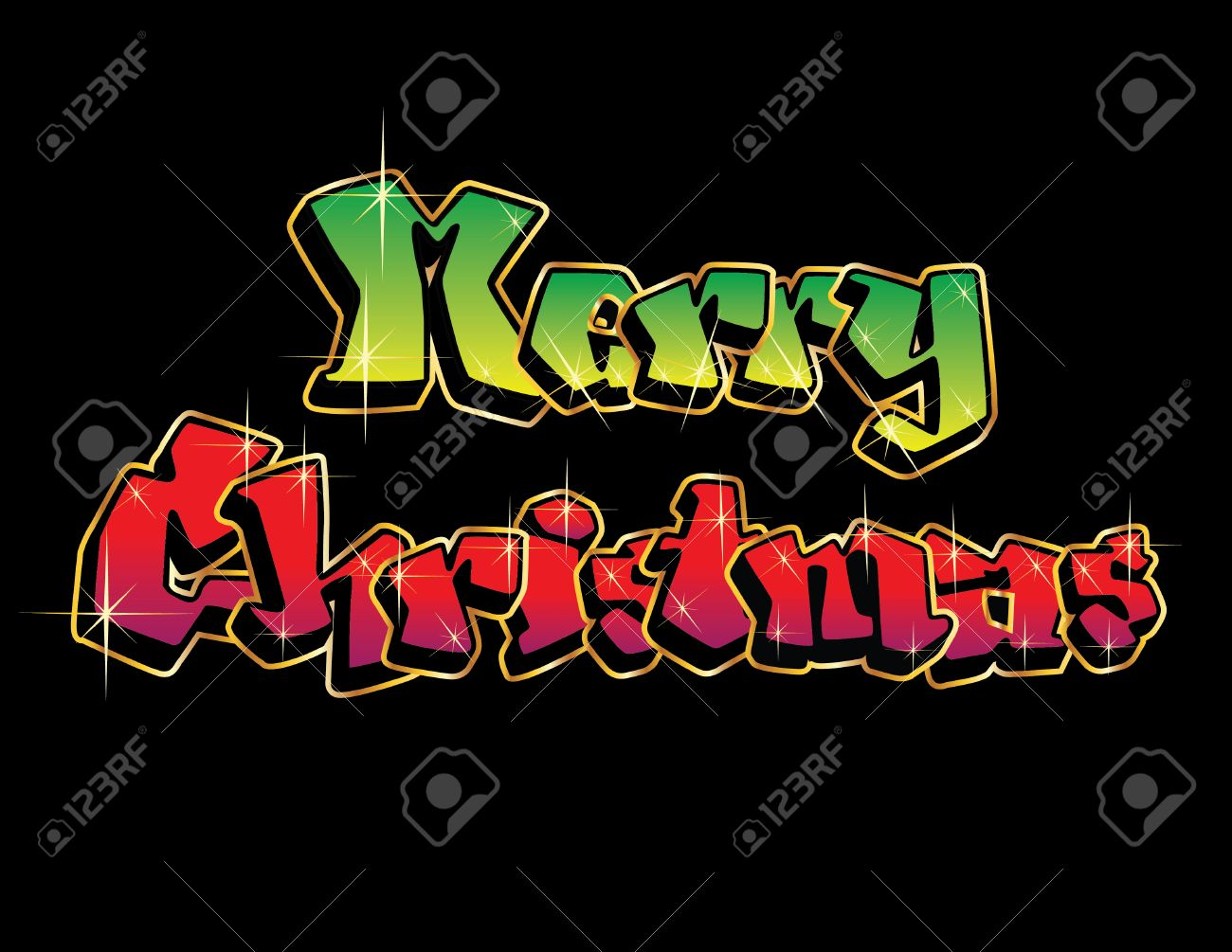 Christmas Graffiti Letters.Twinkling Graffiti Letters Spell Out Merry Christmas Isolated