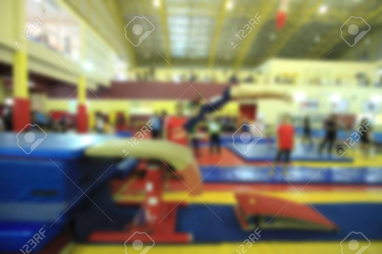 blurry of competition gymnastics of kid - 50346978
