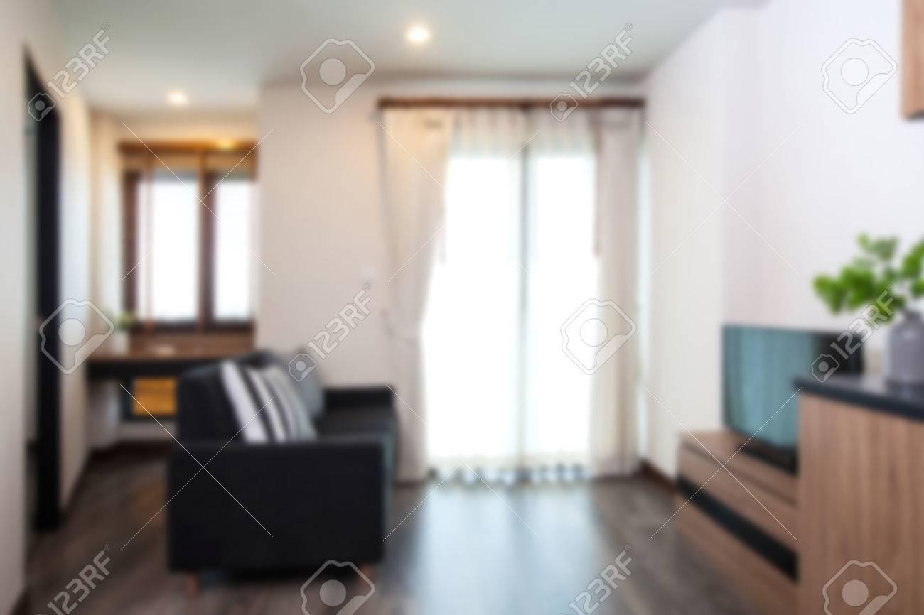 Blurry Background Of Corner Living Room In Condominium On High ...