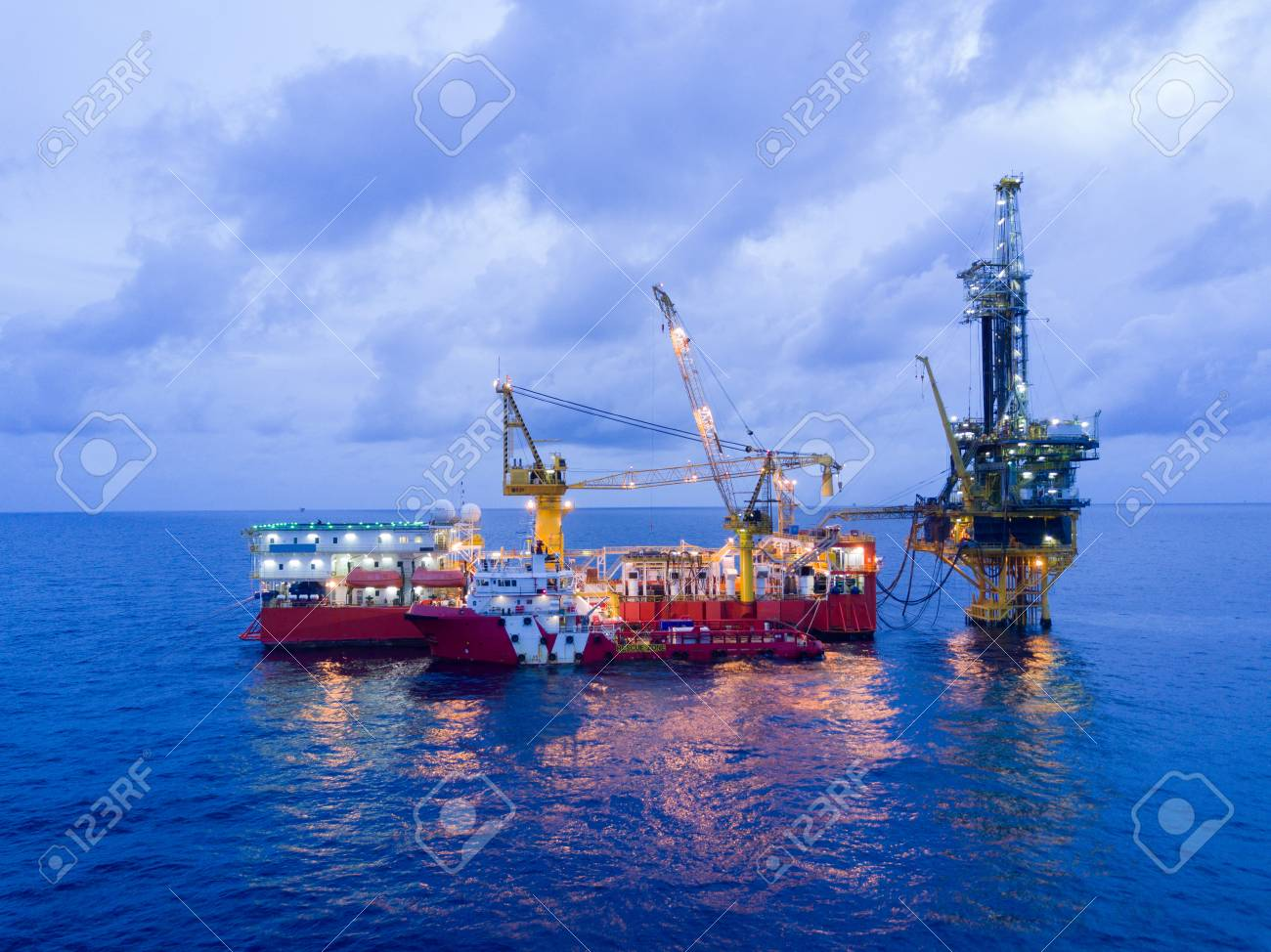 Aerial View of Tender Drilling Oil Rig (Barge Oil Rig) in The