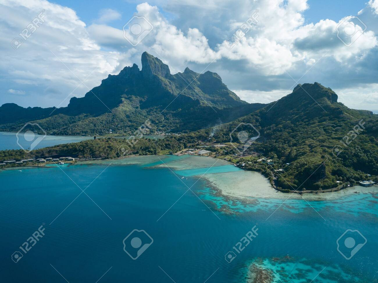Blue Lagoon And Otemanu Mountain At Bora Bora Island Tahiti