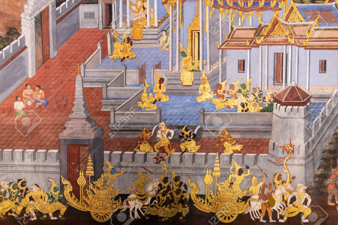 Traditional Thai painting (Art wall) of Ramayana story in the